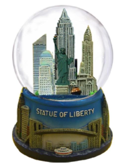 Statue of Liberty Brooklyn Bridge 65mm Snowglobe