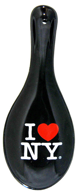 I Love NY Black Ceramic Spoon Rest