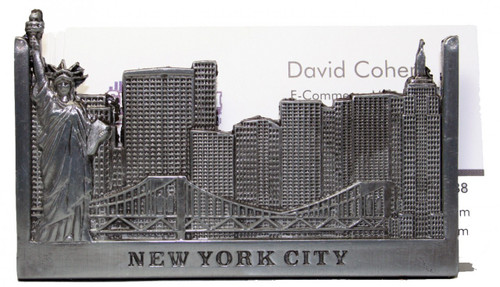 NYC Skyline Pewter Business Card Holder
