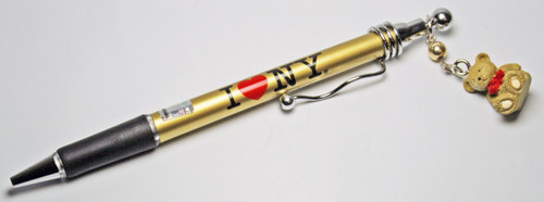 I Love NY Gold Pen with Teddy Charm