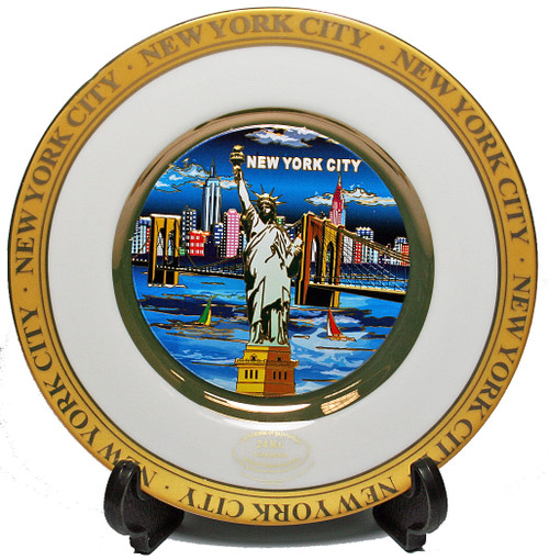 NYC Blue Skyline Gold Edged Souvenir Plate - 4 Inch