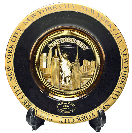 NYC Skyline Black Gold Edged Souvenir Plate - 6 Inch
