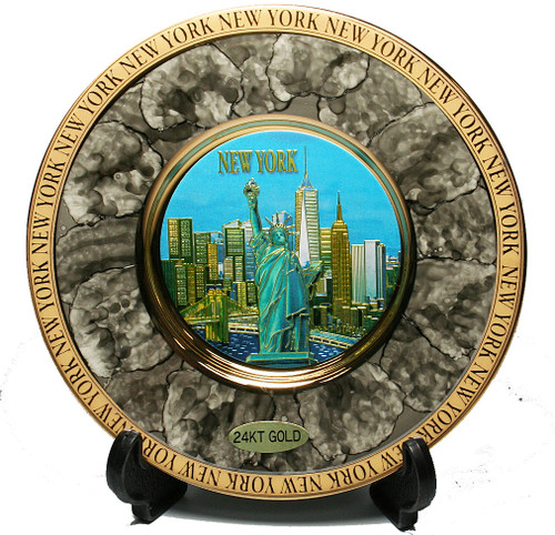 NY Skyline Marble Design Gold Edged Plate - Chokin Art 6 Inch