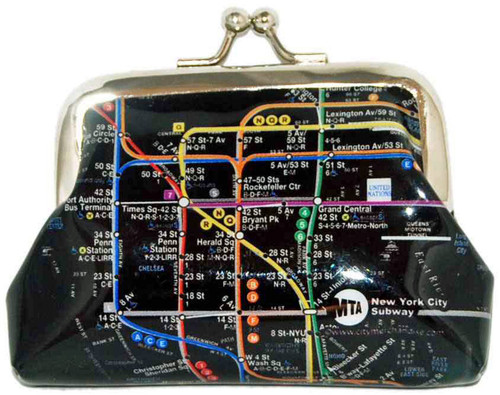 NYC Subway Map Black Coin Purse