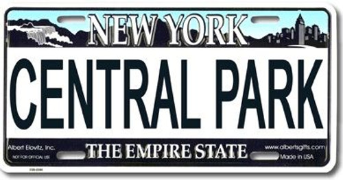Central Park NY License Plate