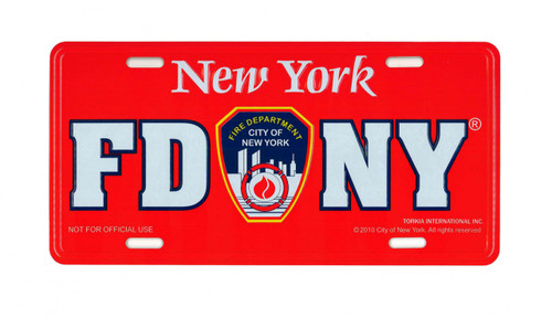FDNY License Plate - Red