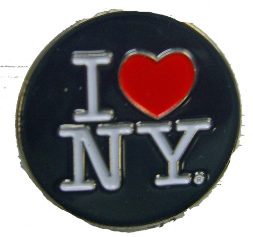 I Love NY Black Circle Pin