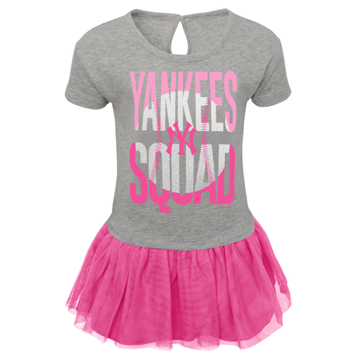 Yankees Baby Cheerleader Mini Dress - Pink and Grey