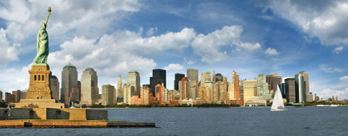 Statue of Liberty and Downtown Manhattan Panoramic 10 x 24 Poster