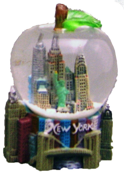 NY Skyline and Bridge Apple Shaped 45mm Snowglobe