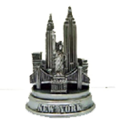 NYC Mini Pewter Skyline Model - Round