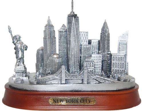 NY City Skyline Pewter Model - Oval