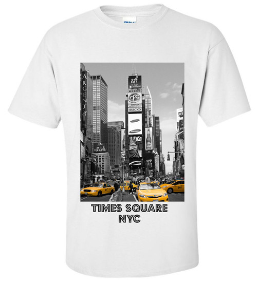 Times Square Yellow Cabs White Adult T-shirt