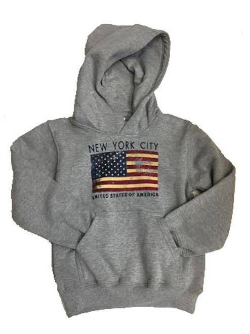 USA Flag Kids Grey Hoodie