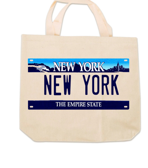 New York License Plate Canvas Tote Bag