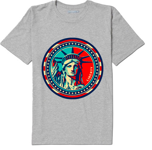 NY Liberty Stamp T-shirt -Grey