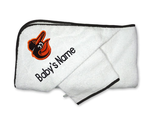 Baltimore Orioles Personalized Towel and Wash Cloth Gift Set