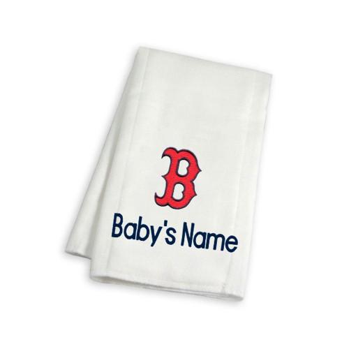 Boston Red Sox B Personalized Burp Cloth