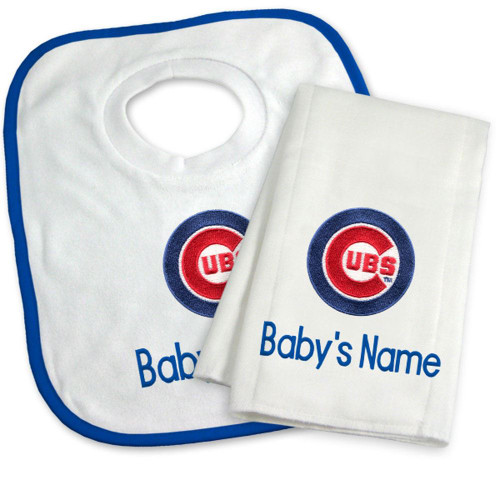 Chicago Cubs Personalized Bib and Burp Cloth Gift Set