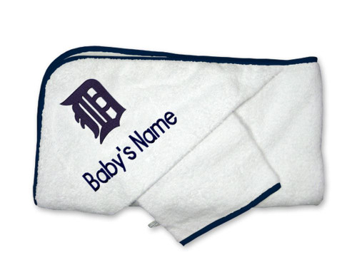 Detroit Tigers Personalized Towel and Wash Cloth Gift Set