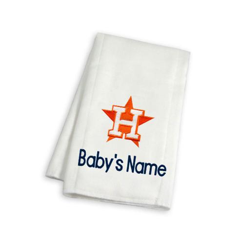 Houston Astros Personalized Burp Cloth