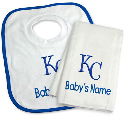 KC Royals Personalized Bib and Burp Cloth Gift Set