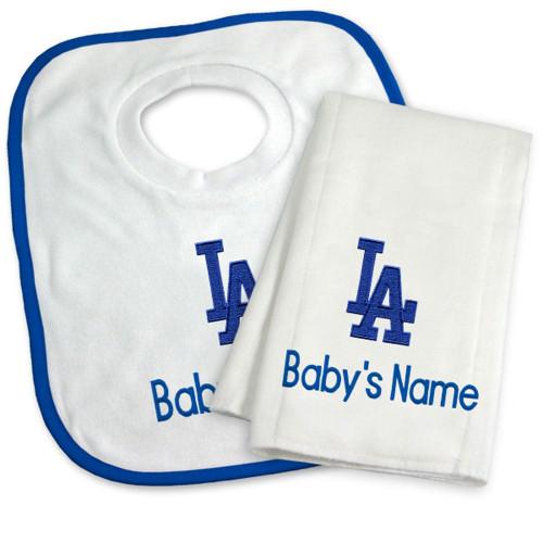 LA Dodgers Personalized Bib and Burp Cloth Gift Set