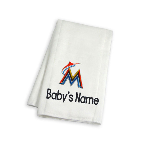 Miami Marlins Personalized Burp Cloth