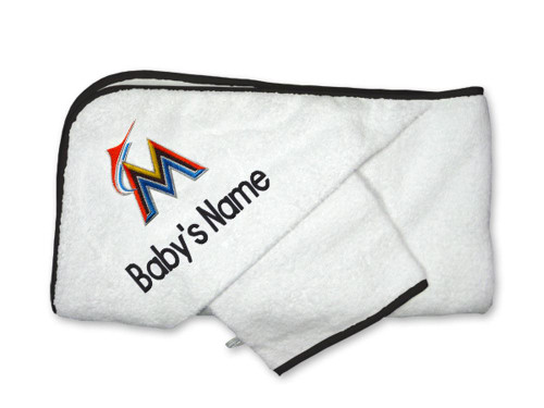Miami Marlins Personalized Towel and Wash Cloth Gift Set