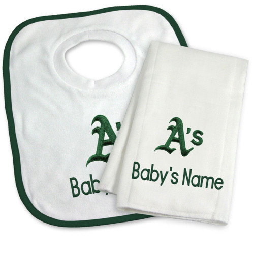 Oakland Athletics Personalized Bib and Burp Cloth Gift Set