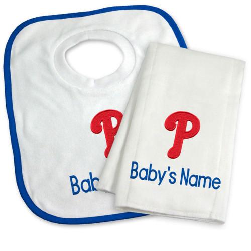 Philadelphia Phillies Personalized Bib and Burp Cloth Gift Set