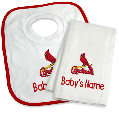 St Louis Cardinals Personalized Bib and Burp Cloth Gift Set