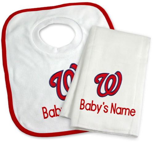 Washington Nationals Personalized Bib and Burp Cloth Gift Set
