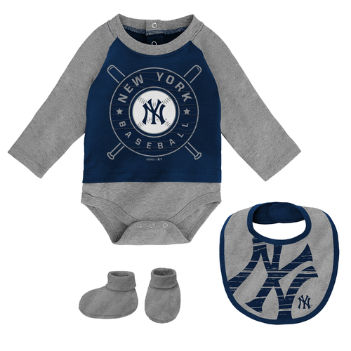 Yankees Baby Coverall Bib & Booties 3-pc Set - Navy & Grey