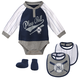 Yankees Baby Coverall Bib & Booties 3-pc Set - Navy & Pinstripe