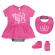 Yankees Baby Creeper Dress Bib & Booties 3-pc Set - Pink MVP Princess
