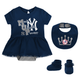 Yankees Baby Creeper Dress Bib & Booties 3-pc Set - MVP Princess