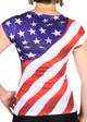 New York American Flag V-Neck Rhinestone Ladies T-Shirt - back
