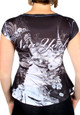 Statue of Liberty Floral Design Black Ladies T-Shirt - back
