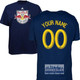 NY Red Bulls Personalized Navy Adult T-Shirt - Yellow Lettering