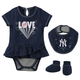Yankees Love Navy Creeper Dress Bib and Booties 3-PC Set