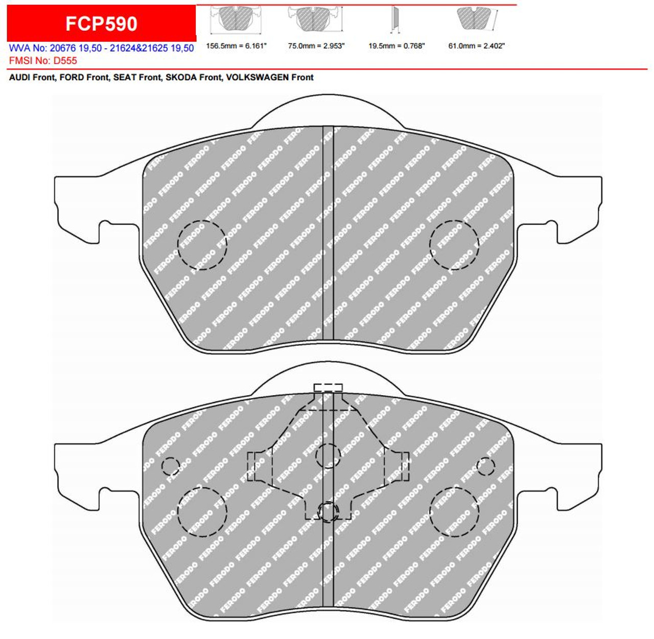 Ferodo DS2500 Front Brake Pad Set (FCP590H)