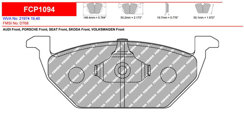 Ferodo DS2500 Front Brake Pad Set (FCP1094H)