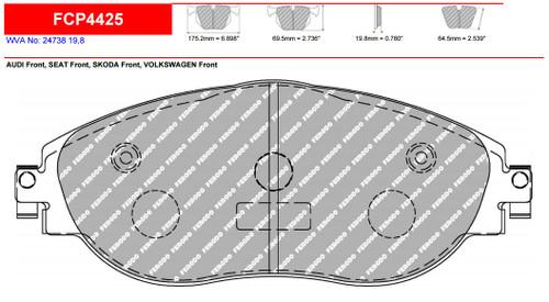 Ferodo DS2500 Front Brake Pad Set (FCP4425H)