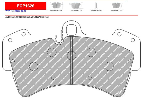 Ferodo DS2500 Front Brake Pad Set (FCP1626H)