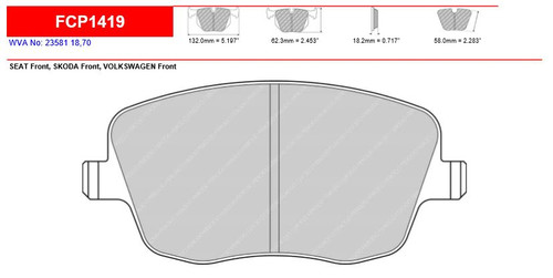 Ferodo DS2500 Front Brake Pad Set (FCP1419H)