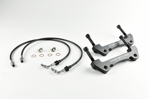 Front Caliper Carrier Kit - Allows Fitment of Aston DB9 4 Piston Brembo Calipers to OE 345mm Discs (AK0010)
