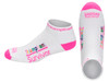 Triumphant Survivor™ Inspirational Low Cut  Socks For Women and Men (Hi-Vis Pink and White)