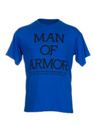 Man of Armor Christian Men's T Shirt (Black Print on Royal Blue)
