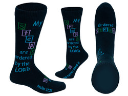My Steps Are Ordered By The Lord Navy Blue Christian Inspirational Dress Crew Socks for Men and Women